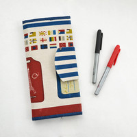 OOAK Family linen travel holder | Passport wallet | Paris linen travel organizer | Striped red, blue cardholder | Flag print | Travel wallet