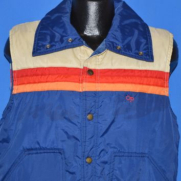 80s Ocean Pacific Rainbow Snap Up Puffy Ski Vest Large