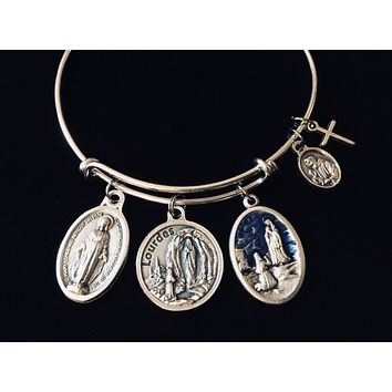 Lourdes Virgin Mary Saint Bernadette Adjustable Charm Bracelet Expandable Silver Bangle Inspirational One Size Fits All Catholic Gift Prayer Jewelry