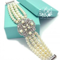 Wedding Bracelet Swarovski Ivory Pearls Rhinestone Bridal Bracelet Wedding by PureRainDesigns
