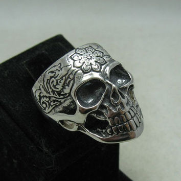 R001161 Sterling Silver Ring Solid 925 Skull Flower