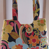 Handbag Purse Tote Shoulder Bag in  Funky Flowers Vintage Button Made in the USA