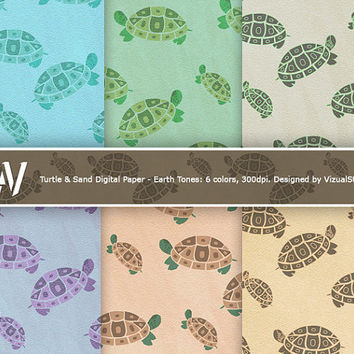 6 Digital Turtle Papers - Earth Tone. 2 illustration varieties on sand textured background. Paper crafts, scrapbooking, cards, invites, blog