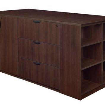 Legacy Stand Up Storage Cabinet/ 3 Lateral File Quad with Bookcase End- Java