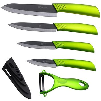 High Quality Ceramic Knife Set 3 4 5 6 Inch Black Blade Green Handle New Zirconium Oxide Ceramic Kitchen Knives Cooking Tools