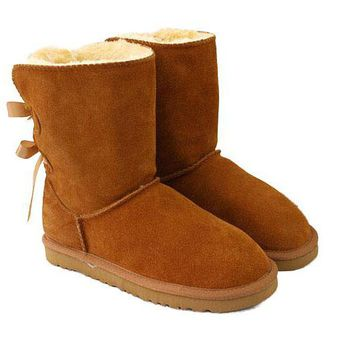UGG Trending Women Two Bow Wool Warm Boots Snow Boots I