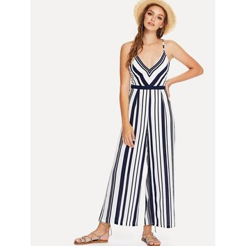 Criss Cross Back Striped Cami Jumpsuit