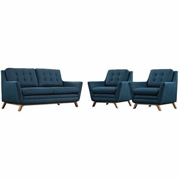 """Beguile 3 Piece Upholstered Fabric Living Room Set, Azure, Size : 36""""Lx36""""Wx34.5""""H"""