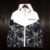 Supreme Women Men Lighting Windbreaker Reflective Letter Print Coat I