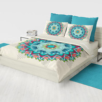 Southwest Mandala Flower Duvet Cover or comforter -  teal and coral geometric mandala bedding