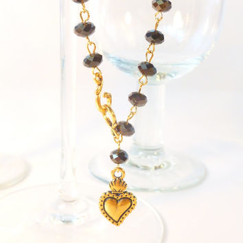Super Sparkly Black Crystal with Gold Milagro Heart Rosary Style Goth Day of the Dead Necklace