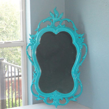 Vintage Ornate Mirror in Seaside Blue