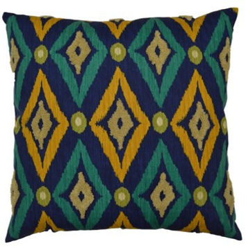 Modern Ikat -Navy Throw Pillow