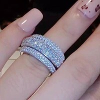 Victoria Wieck Full Pave AAA Cubic Zirconia 925 Sterling Silver Simulated stones Women Wedding Engagement Band Ring Size5-11