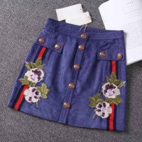 Gucci Fashion  Sexy Embroider Rose Sapphire Show Thin Skirt
