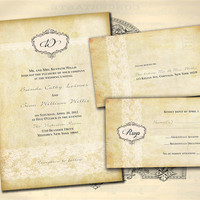 Vintage Rustic Romantic Lace Customizable Wedding Invitation and RSVP Card Suite - Double Sided Print