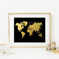 World Map Faux Gold Foil Art Print - Gold & Black - Gilded Office Decor - Girly Minimalist Art - Home Office Wall Art - SKU: 211