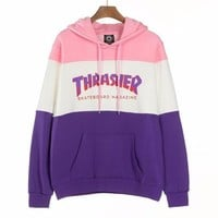 THRASHER Trending Women Men Stylish Flame Letter Print Pink/White/Purple Color Matching Hooded Velvet Sweater Pullover Top Sweatshirt I13839-1