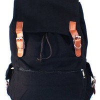 Hunnt® Black Canvas Backpack School Bag Super Cute for School
