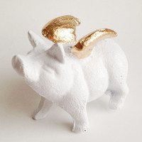 Flying Pig Figurine, When Pigs Fly, Pig Statue, Pig with Wings, Gold and White