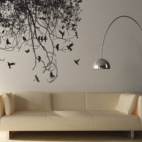 Tree Branch with Birds and Dragonfly Vinyl Wall Art Decal WD-0223