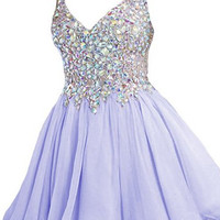 Purple A-Line Crystal Homecoming Dress,Straps V-Neck Chiffon Homecoming Dresses