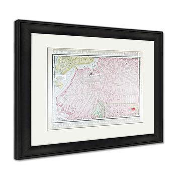 Framed Print, Detailed Antique Street Map Brooklyn New York Ny
