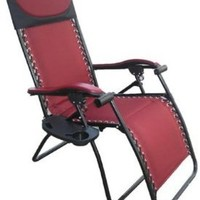 Wilcor, Deluxe Large Zero Gravity Fully Reclining Lounge Patio Folding Chair Burgandy Red