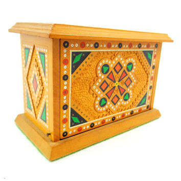 Russian Hand Carved Wood Inlay Box
