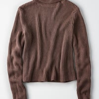 Don't Ask Why Thick Rib Turtleneck Sweater, Washed Plum