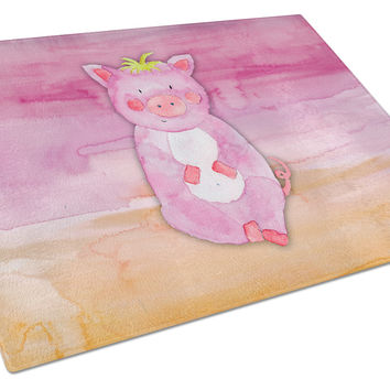 Pig Watercolor Glass Cutting Board Large BB7416LCB