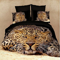 Duvet Cover Set Dolce Mela 4 Pieces Cotton Bedding Set w/ tiger King Duvet Covers Queen Duvet Covers w/ matching sheet and 2pc pillow case.
