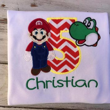 Mario and Yoshi Birthday shirt or Onesuit