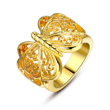 Stainless Steel Butterfly Filigree Ring - Gold Color