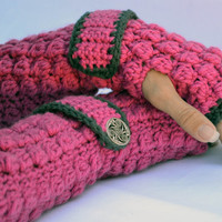Magenta and charcoal crochet arm warmers, fingerless gloves with wrist strap and buttons in textured popcorn stitch
