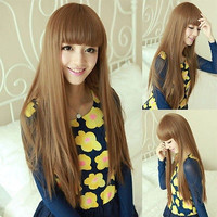 Fashion New Womens Long Straight Full Hair Cosplay Wig Lolita Party Wigs Brown (Color: Tan) = 1697605700