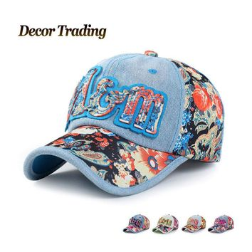 Unisex Denim polo casual vintage jeans baseball cap washed snapback hat