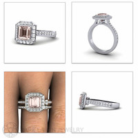 Bezel Asscher Morganite Engagement Ring & Wedding Band 14K Morganite Ring Diamond Halo Custom Bridal Set