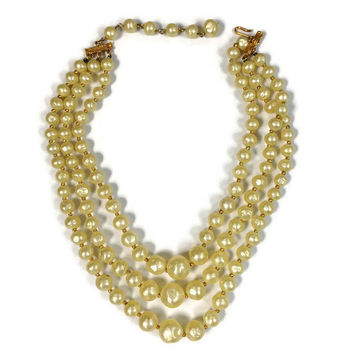 Vintage Necklace / Signed Carnegie Triple Strand Faux Baroque Pearl Necklace