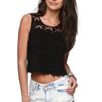 LA Hearts Daisy Crochet Tank - Womens Tees - White - Large