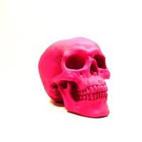 neon skull head, neon home decor, hot pink, tribal, summer, skulls, skull sculpture