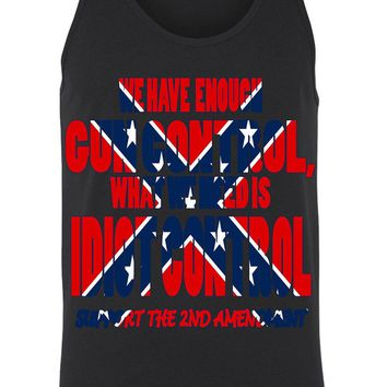 Men's Rebel Flag Tank Top What We Need Is Idiot Control Confederate: WHITE (XXL)