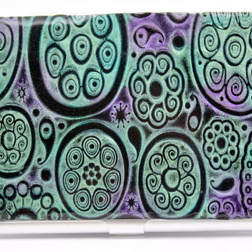 Business card holder / polymer clay covered metal card case / credit card holder, ooak handmade