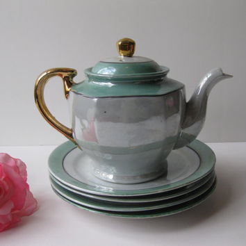 Vintage Green and White Luster Teapot and 4 Dessert Plates