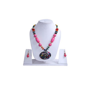 Men Style Beach Vintage Big Stone  Zinc Alloy Necklace With Pink Hoop Earrings