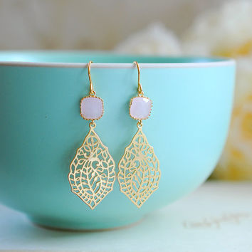 Pink Glass Gold Paisley Filigree Dangle Earrings, Gold Filigree Chandelier Earrings, Drop Earrings, Wedding Jewelry, Bridesmaid Earrings