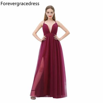 Forevergracedress Burgundy Prom Dress New Arrival Simple Deep V Neck Tulle Long Evening Party Gown Plus Size Custom Made