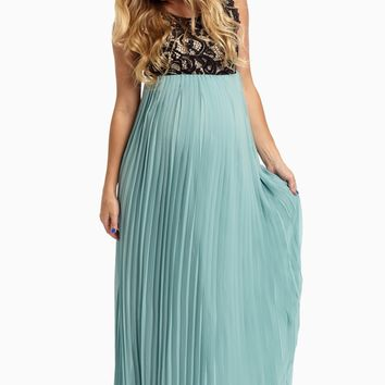 Dusty-Aqua-Pleated-Chiffon-Lace-Top-Maxi-Dress