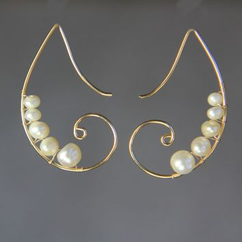 14k gold filled tear drop scroll peral wiring earring handmade US free shipping Anni Designs