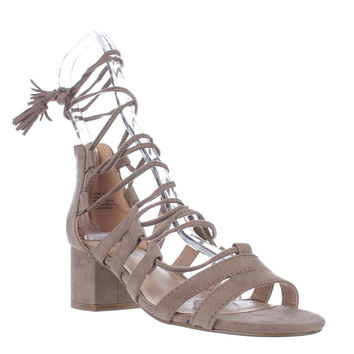 madden girl Loverrr Lace Up Heeled Sandals - Dark Taupe